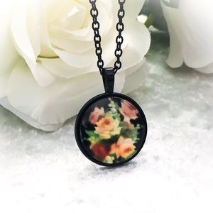 Shabby Chic Black Flowers Necklace Glass Pendant